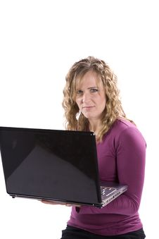 Free Woman With Laptop Smirky Stock Photography - 14358822
