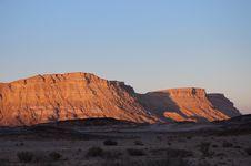 Evening In Negev Desert, Israel. Stock Photos