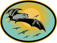 Free Bat Flying With Moon Royalty Free Stock Image - 14359256