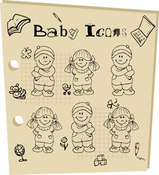 Free Baby School  Icons Set Royalty Free Stock Image - 14359686
