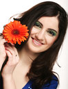 Free Young Woman With Gerber Flower Royalty Free Stock Image - 14366366