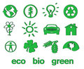 Free Set Of Green Eco & Bio Icons, Stickers And Tags Royalty Free Stock Photography - 14367507