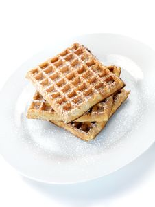 Free Breakfast Waffles Royalty Free Stock Photography - 14360177