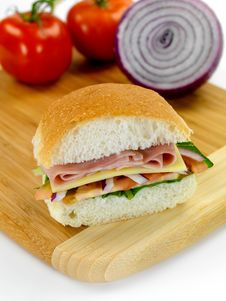 Free Ham And Salad Roll Stock Photos - 14360473
