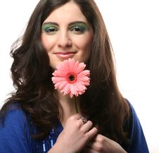 Free Young Woman With Gerber Flower Royalty Free Stock Images - 14366369