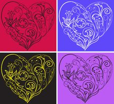 Free Set Filigree Hearts Stock Photos - 14366543