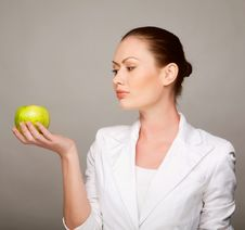 Free Happy Healthy Woman Holding Apple Stock Images - 14366614