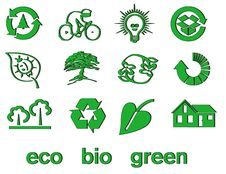 Free Set Of Green Eco & Bio Icons, Stickers And Tags Royalty Free Stock Image - 14367496