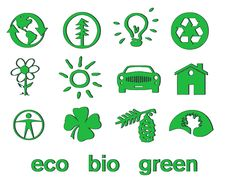 Set Of Green Eco & Bio Icons, Stickers And Tags Royalty Free Stock Photography