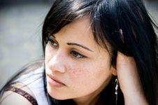 Free Portrait Of Cute Brunette Stock Image - 14368241