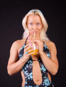 Free Woman Drinking Orange Juice Stock Photo - 14368450