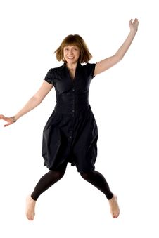 Woman Dancing In Studio Stock Photo