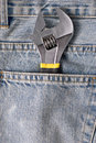 Free Wrench In A Blue Jean Pocket Stock Photography - 14374362