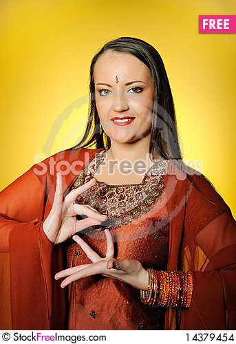 Young beautiful woman in indian traditional style Stock Photo