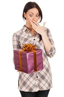 Free Beautiful Young Woman With A Gift Box Royalty Free Stock Image - 14370516