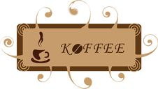 Free Banner With A Coffee Cup And Curls. Stock Image - 14370521