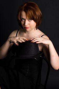 Free Girl In Black Hat Stock Image - 14370761
