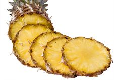 Free Tasty And Ripe Pineapple Slices Over The White Bac Royalty Free Stock Image - 14371376