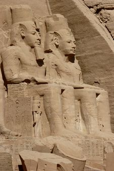 Colossal Statues Detail At Abu Simbel Temple Stock Photo