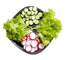 Free Fresh Cucumber, Radish And Lettuce On Black Plate Royalty Free Stock Images - 14374259