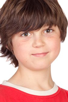 Funny Portrait Of Freckled Boy Royalty Free Stock Photos