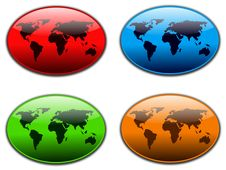 Free World Web Buttons Royalty Free Stock Photography - 14375697