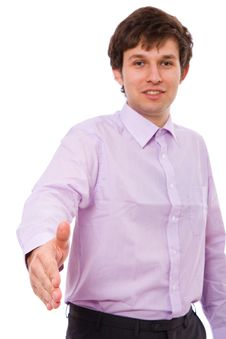 Right Hand In Welcome Gesture, Male Adult Stock Photos