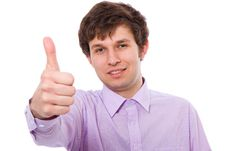 Free Thumbs Up Gesture Made By Young Male Royalty Free Stock Photography - 14375757