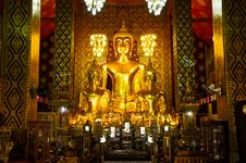 Buddha Image In A Temple, Thailand Royalty Free Stock Photo