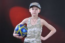 Free Boy Of Ten Years With A Ball Royalty Free Stock Photos - 14376608