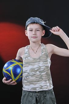 Free Boy Of Ten Years With A Ball Stock Image - 14376661