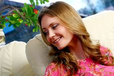 Free Beautiful Young Woman Relaxing At Home Stock Images - 14378054