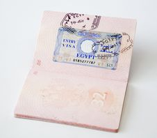 The Egyptian Visa In The Russian Passport Stock Photos