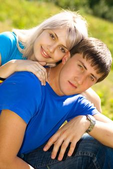 Young Couple In The Park. Stock Images