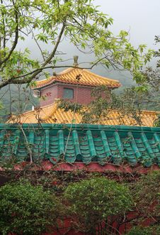 Free Multicolored Pagoda In Fog Royalty Free Stock Photos - 14379428