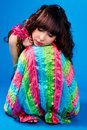 Free Cute Brunette In A Colorful Dress Is Sleeping Royalty Free Stock Photography - 14384357