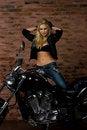 Free Sexy Girl On Motorbike Royalty Free Stock Image - 14384576