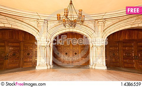Majestic Classic Arched Doors with Chandelier Stock Photo