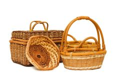 Free Wattled Basket Isolated Over White Royalty Free Stock Images - 14380199