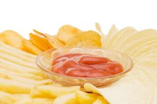 The Potato Chips With Sauce Royalty Free Stock Photos