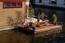 Dutch Houseboat In Amsterdam Stock Photography