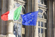 Italian And Eurpean Flag In Wind Royalty Free Stock Image