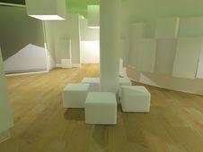 Hospital Waiting Room, Green Light Cubes Stock Image