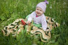 Free Baby On The Grass, In The Jumper And Booties Stock Photography - 14382602