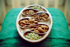 Nuts In Wooden Dish Royalty Free Stock Photography