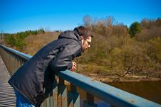 Free Man Standing On A Bridge Royalty Free Stock Photos - 14383448