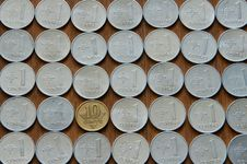 Lithuanian Coins Background Royalty Free Stock Photo