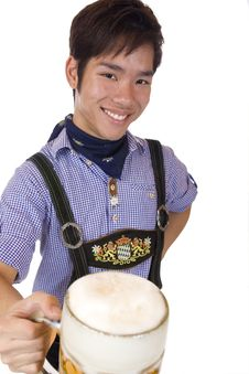 Free Happy Asian Man Holds Oktoberfest Beer Stein Stock Photography - 14383692