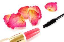 Free Lipstick With Brush For Eyelashes Royalty Free Stock Images - 14384759