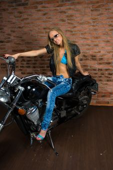 Sexy Girl On Motorbike Stock Photography